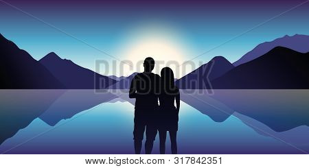 Couple In Love Enjoy The Blue Mountain And Ocean Landscape In The Dusk Vector Illustration Eps10