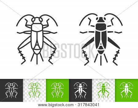 Cricket Bug Black Linear And Silhouette Icons. Thin Line Sign Of Grig. Insect Outline Pictogram Isol