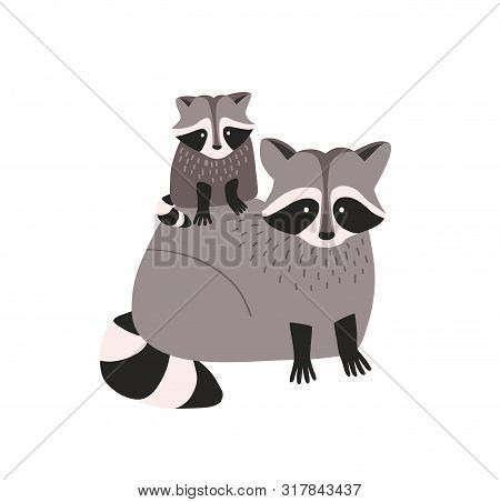 Cute Amusing Raccoon With Cub Isolated On White Background. Family Of Funny Adorable Wild Forest Car