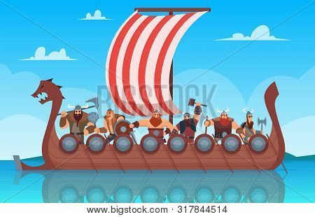 Vikings Battle Ship. Travel History Boat With Norway Vikings Warrior Vector Cartoon Background. Ship
