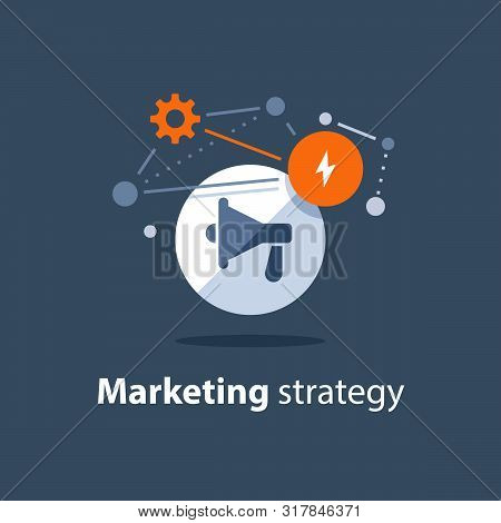 Marketing Strategy Plan, Megaphone Icon, Attention Announcement, Public Relations Concept, Advertisi
