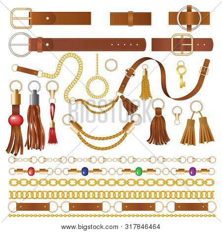 Leather Elements. Fabric Decoration For Clothes Luxury Chains Straps And Embroidery Braided Details