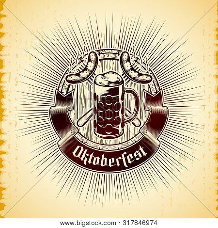 Beer Glass, Crossing Forks With Grilled Bavarian Sausages, Wooden Cask, Radiant On Vintage Backgroun