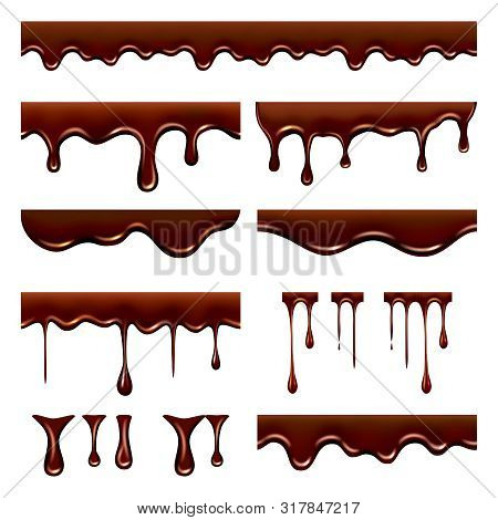 Chocolate Dripped. Sweet Flowing Liquid Food With Splashes And Drops Caramel Cacao Vector Realistic