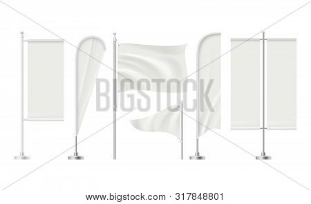 Beach Flag. Advertizing Blank Surface Promotion Signboard Retail Markets Banners Vector Realistic Mo