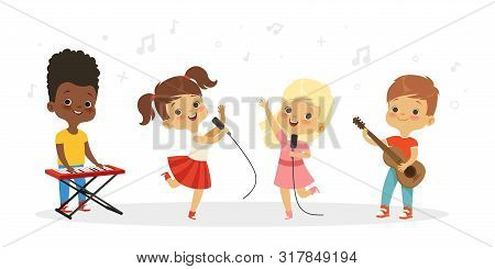 Singing Kids. Vector Cute Children Choir. Kids Vocal Group Illustration. Child Boy And Girl, Vocal C