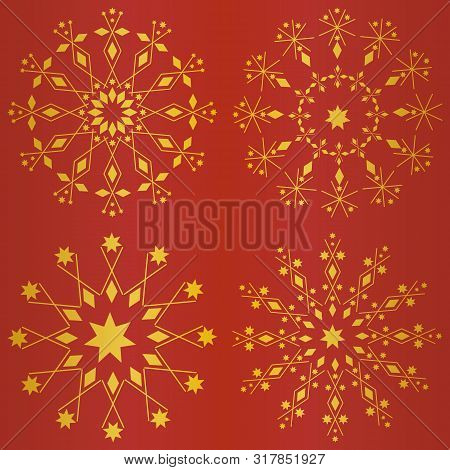 Elegant Snowflakes Christmas Design On Vibrant Red And Gold Foil Background. Seamless Vector Pattern