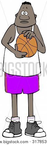 Illustration Of A Tall Black Basketball Player Holding A Ball.