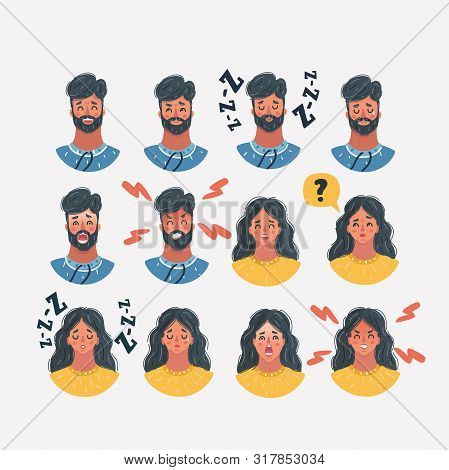 Cartoon Vector Illustration Of Set Of Different Male And Female Faces Icons. Female And Male Faces I