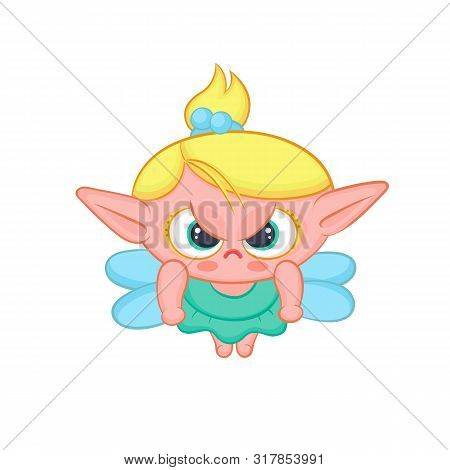 Angry Elf Fairy With Wings. Cute Blond Girl Sorceress In Dress Vector Fantastic Character Isolated C