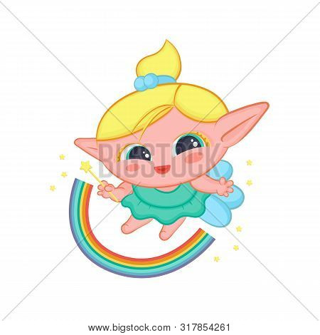 Happy Elf Fairy With Wings Conjured Rainbow. Cute Blond Girl Good Sorceress In Dress And With Magic
