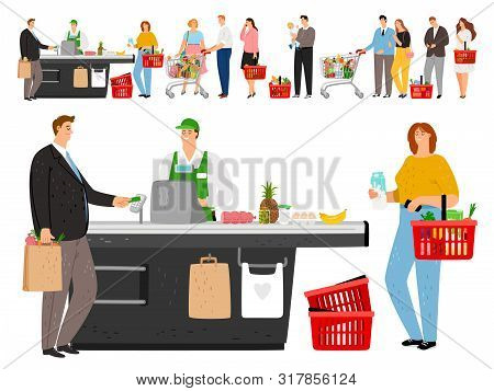 Grocery Shopping Queue. Shop Queues People, Cartoon Retail Store Customers In Long Line And Cashier