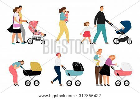 Parents With Kids Characters On White. Family People With Children Vector Illustration, Mom And Baby