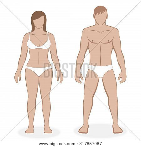 Couple With White Underclothing. Isolated Vector Illustration Of Male And Female Body On White Backg