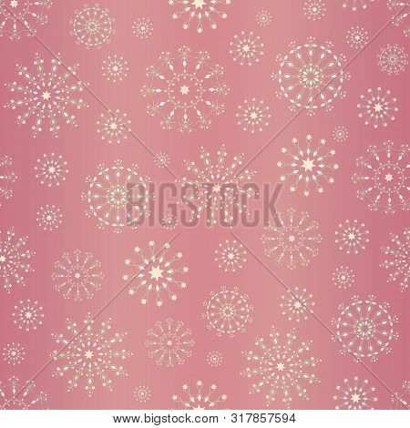 Elegant Snowflakes Christmas Design On Soft Pink Gold Foil Background. Seamless Vector Pattern. For