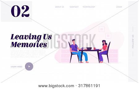 Family Eating Together Website Landing Page. Young Loving Couple Sitting At Table On Kitchen Having