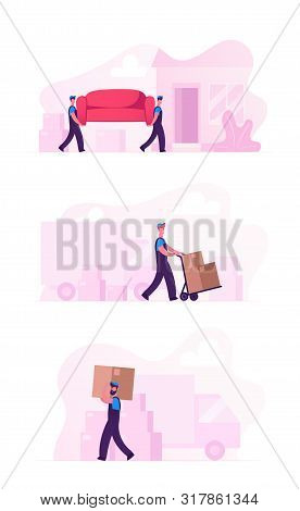 Relocation And Moving Into New House Concept Set With Workers Carry Cardboard Boxes And Furniture Us