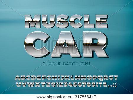 Vector Realistic Chrome Car Font, On A Bright Blue Car Background.