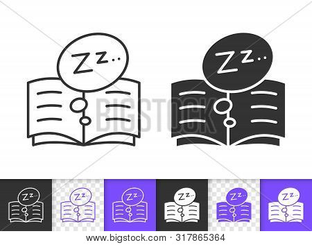Bedtime Black Linear And Silhouette Icons. Thin Line Sign Of Dream Read. Open Book Outline Pictogram