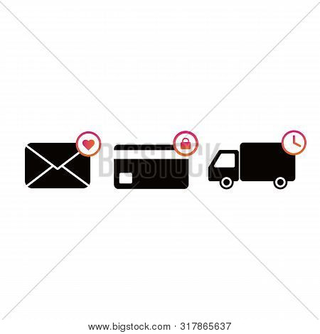 Black Delivery Machine Icon, Envelope And Credit Card And White Background