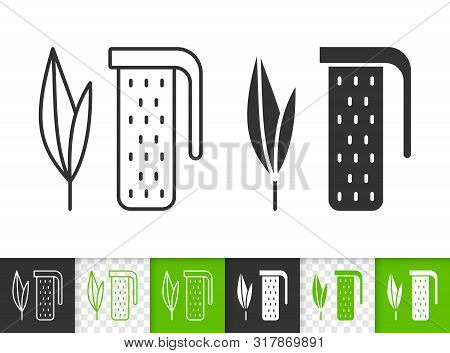 Tea Infuser Black Linear And Silhouette Icons. Thin Line Sign Of Leaf. Plant Outline Pictogram Isola
