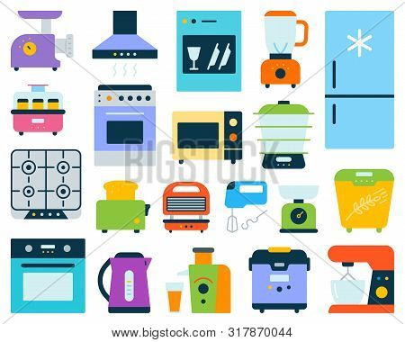 Kitchen Appliance Simple Flat Cartoon Style Set. Equipment Sign Collection Includes Blender, Juicer,
