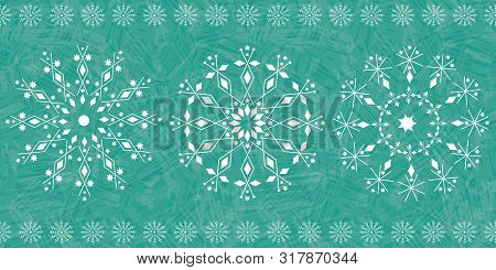 Beautiful Snowflake Winter Border Design On Teal Color Wash Background. Seamless Vector Pattern. For