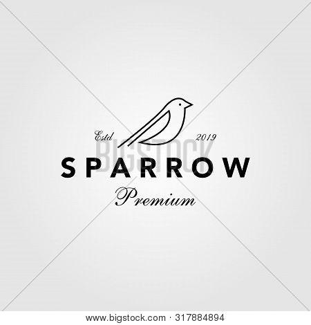 Sparrow Bird Logo Hipster Vintage Retro Vector Line