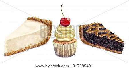 Vector Isolated Pattern, Cheesecake, Crumbly Gentle Wet Biscuit Cupcake With A Stunning Cream Soft A