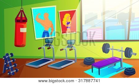 Sport Club Gym Spacious Interior With Various Fitness Equipment And Machines For Body Workout. Tread