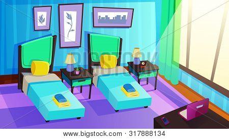 Luxury Resort Hotel Room Interior. Sunny Bedroom, Spacious Apartments Classic Design With Two Separa