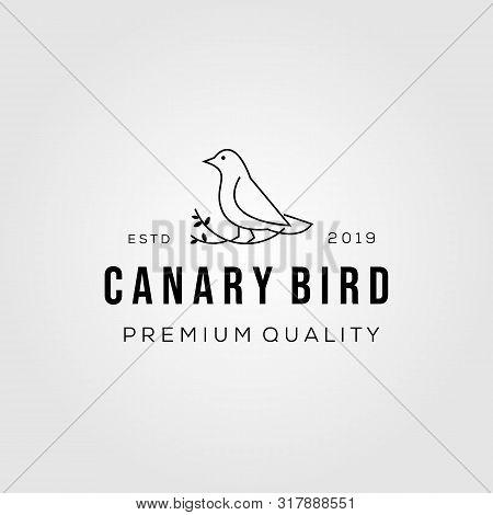 Line Art Canary Bird On Root Logo Vector Icon Illustration
