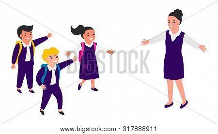 Schoolchildren joyfully greet school teacher, run towards happy teacher. Teachers Day. Back to school. Vector illustration poster