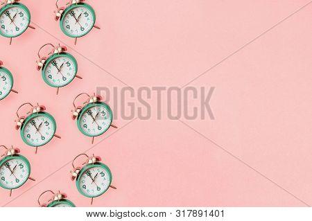 Daylight Savings Time Concept. Set Your Clocks Back With This Flat Lay Retro Beautiful Alarm Clocks