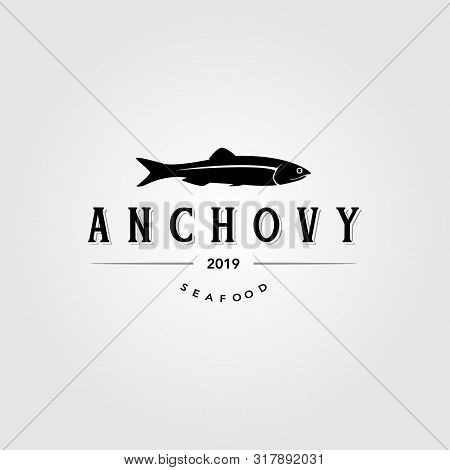 Vintage Anchovy Fish Logo Label Emblem Packaging Vector Icon Seafood Design