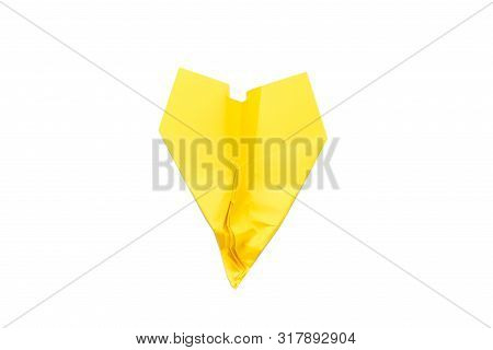 Bad Luck And Failure. Yellow Crumpled Paper Airplane Isolated On White Background. Copy Space.