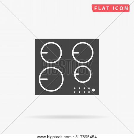 Induction Hob. Cooktop Cooking Panel, Surface. Induction Stove. Flat Design Style Minimal Vector Ill