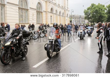 St. Petersburg, Russia - 3 August, Bikers Drive Up To The Festival, 3 August, 2019. The Annual Festi