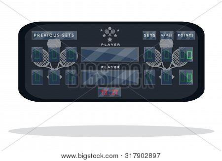 Tennis Scoreboard. Sport Scoreboard. Flat Cartoon Style Vector Illustration Icons. Isolated On White