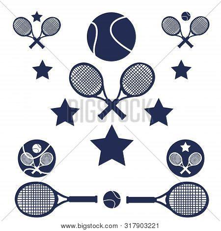 Tennis Sport Set. Flat Cartoons Vector Illustration Icon. Isolated On White. Tennis Gear. Tennis Equ