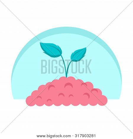 Green Sprout In Pile Of Ground. Planting Sapling. Raster Illustration Clipart Design