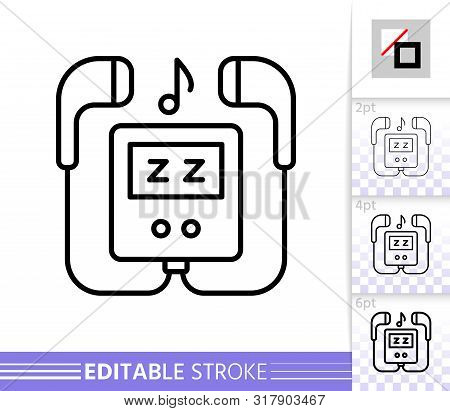 Mp3 Player Thin Line Icon. Music Banner In Flat Style. Portable Device Poster. Linear Pictogram. Sim