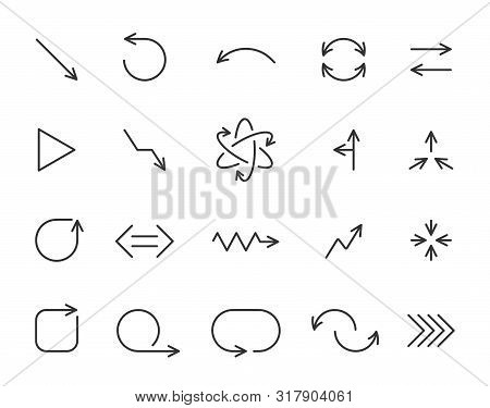 Arrow Thin Line Icon Set. Outline Sign Kit Of Pointer. Linear Curved Arrows Collection Includes Undo