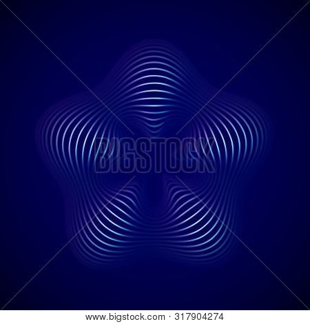 3d Abstract Creative Background Or Decoration Element. Digital Blue Flower. Concept Of Future Art. B