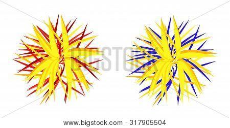 Colorful Fluffy Pompom Fur Balls For Cheerleader.  Modern Flat Cartoons Style Vector Illustration Ic