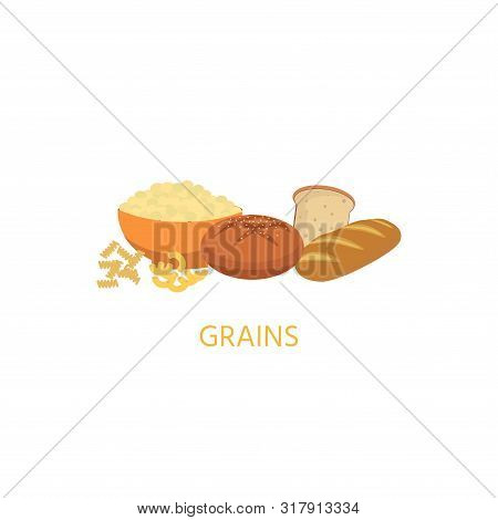 Diet. Healthy Eating Concept. Grains Food Icons Isolated On White Background. Daily Ration. Proteins