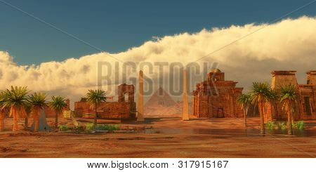 Ancient Egyptian City 3d Illustration - A Legendary Egyptian City In The Desert Next To The Nile Riv