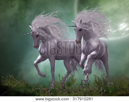 Moonlight Unicorns 3d Illustration - Two Unicorn Stallions Prance Around Blue And Pink Flowers As Mo