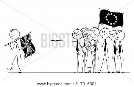 Cartoon Stick Drawing Conceptual Illustration Of Brexit, Prime Minister Of Britain Or United Kingdom