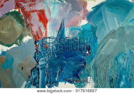 Texture Mixed Oil Paints In Different Colors. Hand Drawn Oil Painting On Canvas. Abstract Background